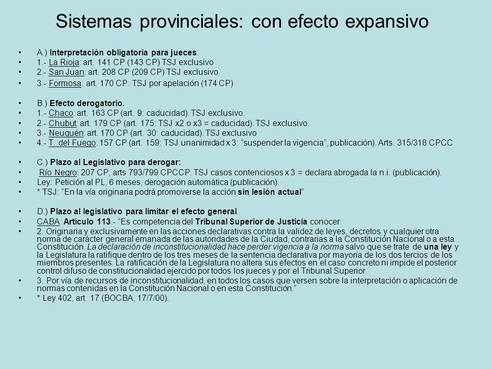 Sistemas provinciales: con efecto expansivo A.) Interpretación obligatoria para jueces: 1.- La Rioja: art. 141 CP (143 CP) TSJ exclusivo 2.- San Juan: