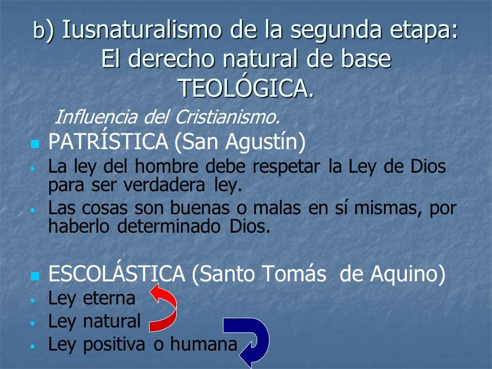 b ) Iusnaturalismo de la segunda etapa: El derecho natural de base TEOLÓGICA. Influencia del Cristianismo. PATRÍSTICA (San Agustín) La ley del hombre