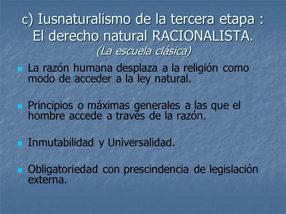 c ) Iusnaturalismo de la tercera etapa : El derecho natural RACIONALISTA. (La escuela clásica) La razón humana desplaza a la religión como modo de acc