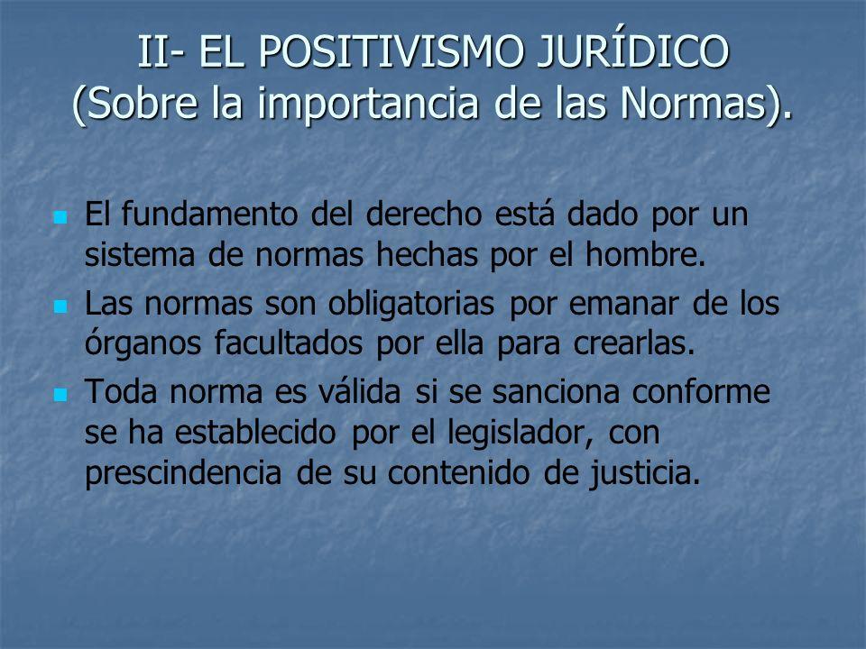 II- EL POSITIVISMO JURÍDICO (Sobre la importancia de las Normas). El fundamento del derecho está dado por un sistema de normas hechas por el hombre. L