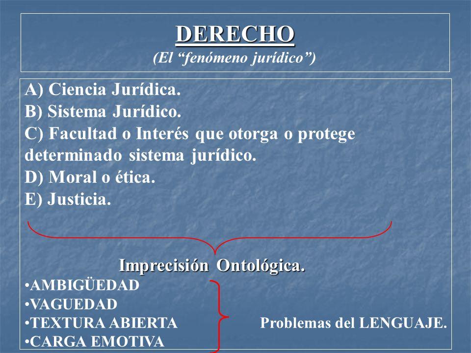 DERECHO (El fenómeno jurídico) A) Ciencia Jurídica. B) Sistema Jurídico. C) Facultad o Interés que otorga o protege determinado sistema jurídico. D) M