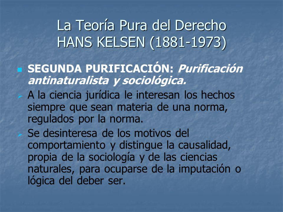 La Teoría Pura del Derecho HANS KELSEN (1881-1973) SEGUNDA PURIFICACIÓN: Purificación antinaturalista y sociológica. A la ciencia jurídica le interesa