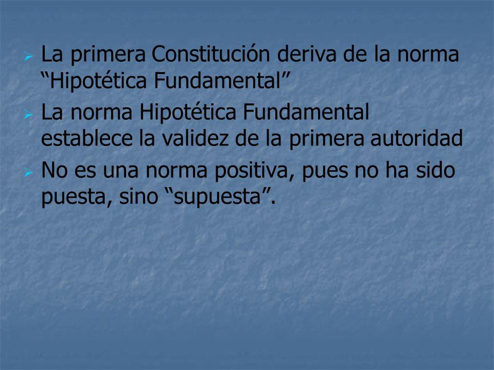 La primera Constitución deriva de la norma Hipotética Fundamental La norma Hipotética Fundamental establece la validez de la primera autoridad No es u