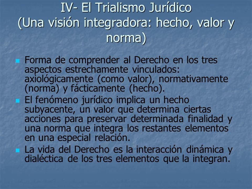 IV- El Trialismo Jurídico (Una visión integradora: hecho, valor y norma) Forma de comprender al Derecho en los tres aspectos estrechamente vinculados: