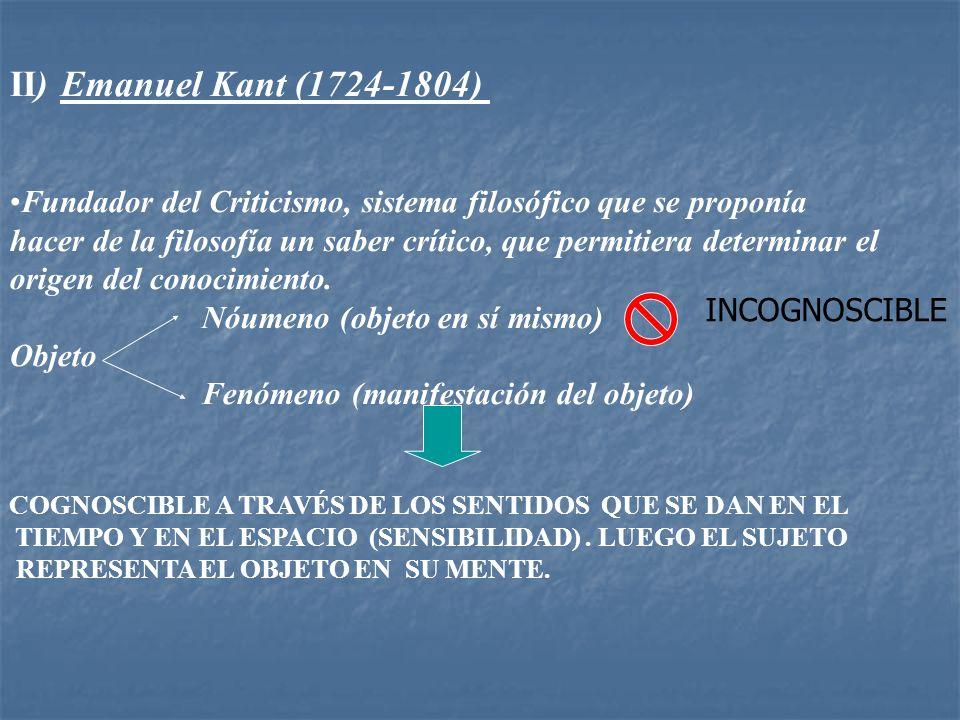 II) Emanuel Kant (1724-1804) Fundador del Criticismo, sistema filosófico que se proponía hacer de la filosofía un saber crítico, que permitiera determ
