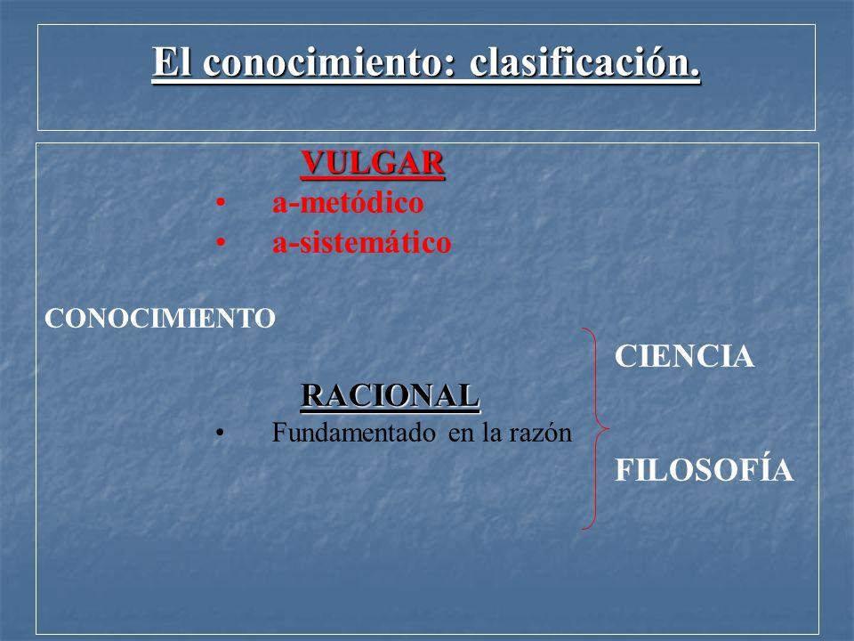 El conocimiento: clasificación. VULGAR a-metódico a-sistemático CONOCIMIENTO CIENCIA RACIONAL Fundamentado en la razón FILOSOFÍA