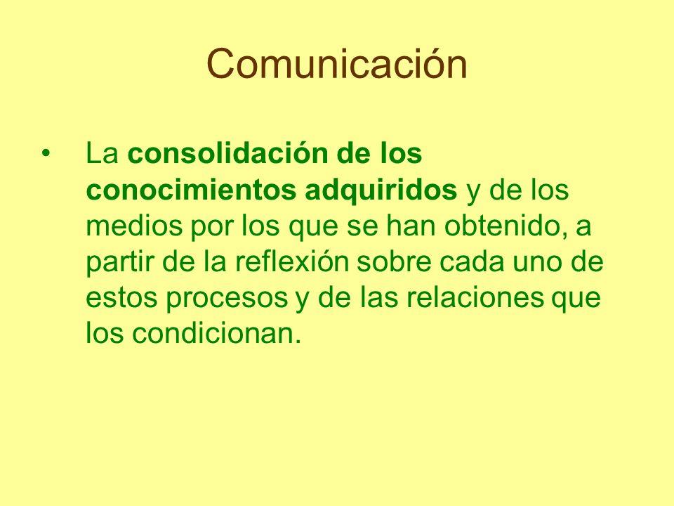 Comunicación La consolidación de los conocimientos adquiridos y de los medios por los que se han obtenido, a partir de la reflexión sobre cada uno de