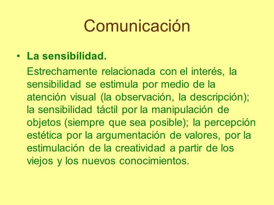 Comunicación La sensibilidad. Estrechamente relacionada con el interés, la sensibilidad se estimula por medio de la atención visual (la observación, l