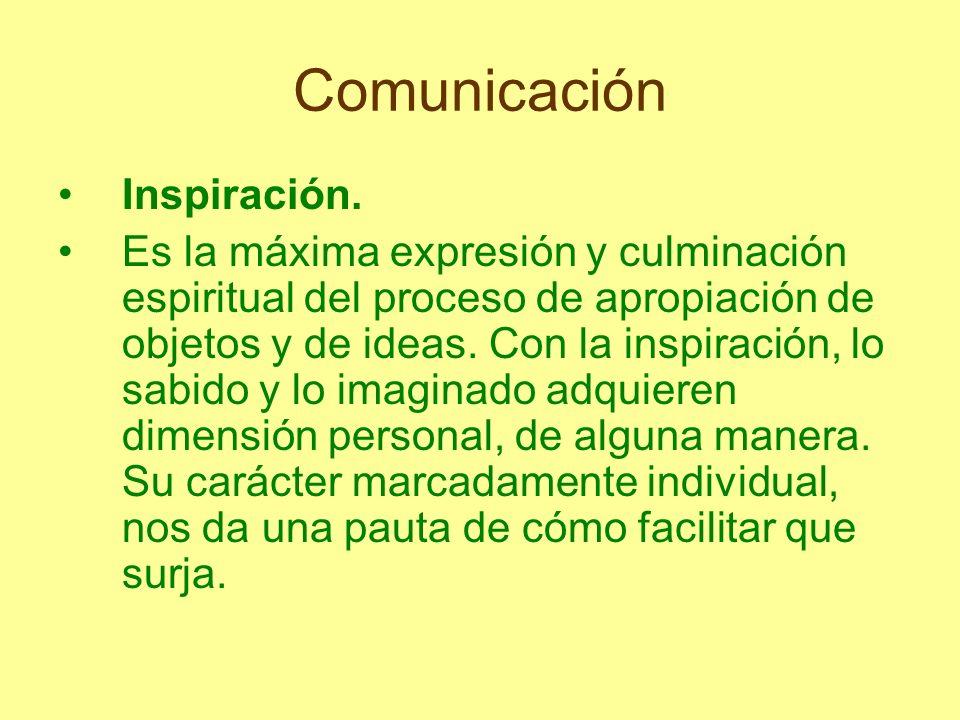 Comunicación Inspiración. Es la máxima expresión y culminación espiritual del proceso de apropiación de objetos y de ideas. Con la inspiración, lo sab