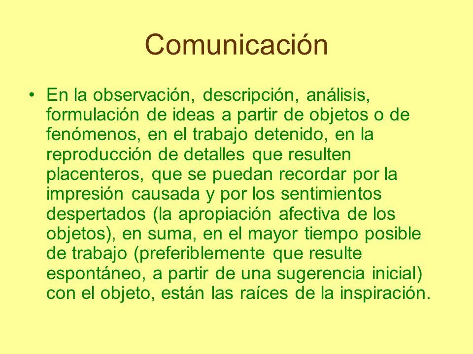 Comunicación En la observación, descripción, análisis, formulación de ideas a partir de objetos o de fenómenos, en el trabajo detenido, en la reproduc