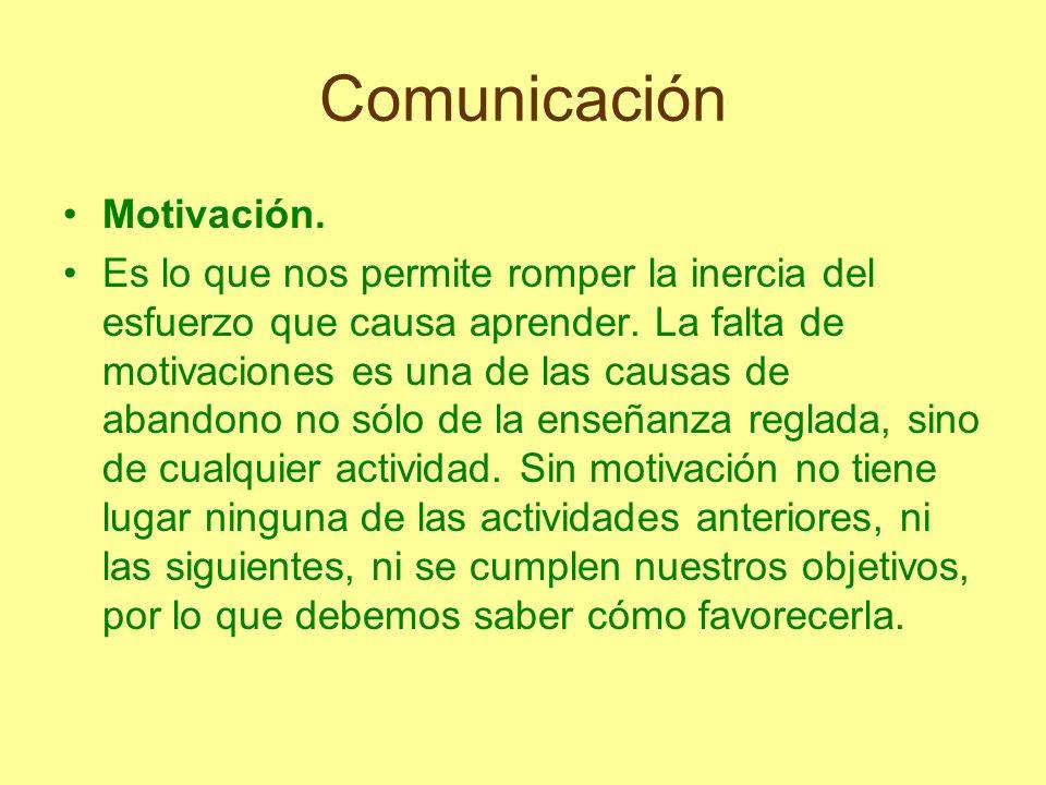 Comunicación Motivación. Es lo que nos permite romper la inercia del esfuerzo que causa aprender. La falta de motivaciones es una de las causas de aba
