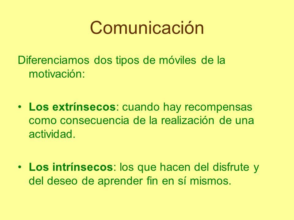 Comunicación Diferenciamos dos tipos de móviles de la motivación: Los extrínsecos: cuando hay recompensas como consecuencia de la realización de una a
