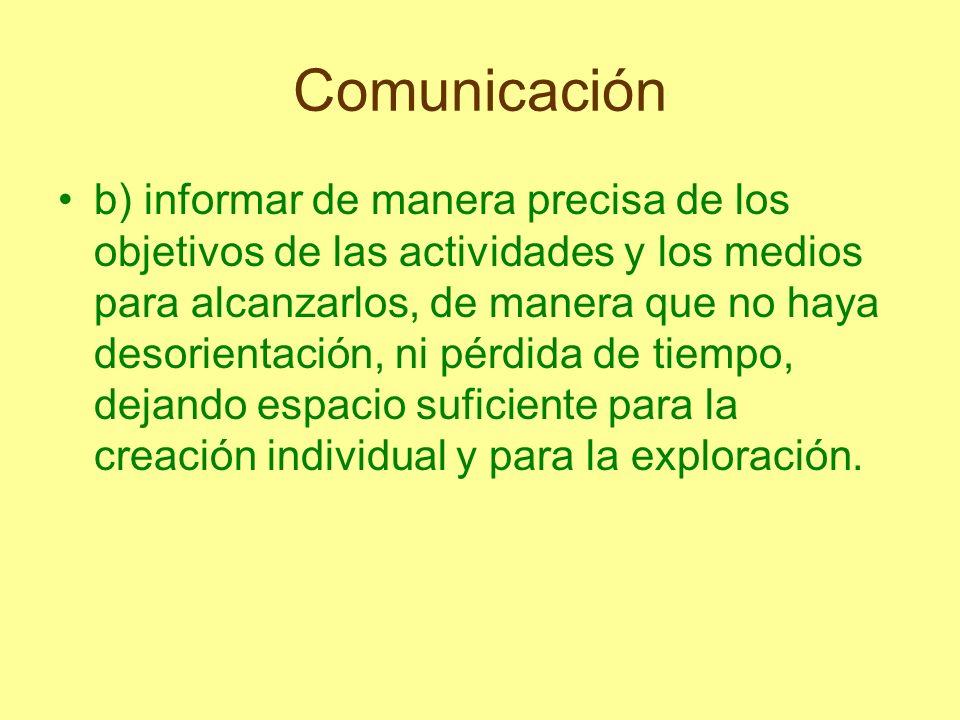 Comunicación b) informar de manera precisa de los objetivos de las actividades y los medios para alcanzarlos, de manera que no haya desorientación, ni