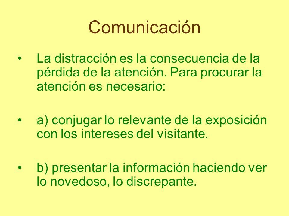 Comunicación La distracción es la consecuencia de la pérdida de la atención. Para procurar la atención es necesario: a) conjugar lo relevante de la ex