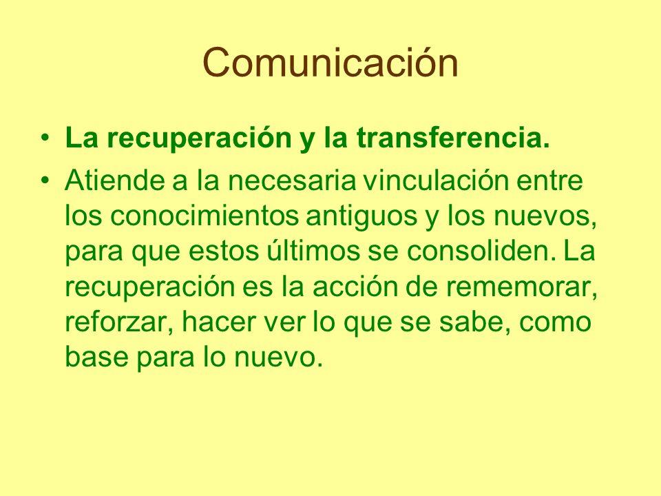 Comunicación La recuperación y la transferencia. Atiende a la necesaria vinculación entre los conocimientos antiguos y los nuevos, para que estos últi