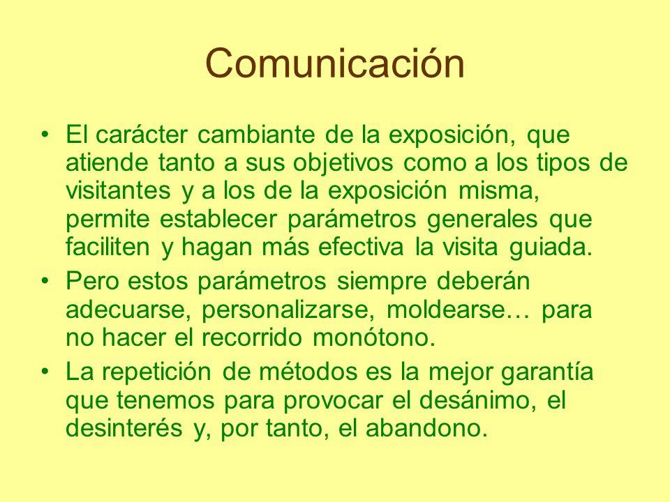 Comunicación El carácter cambiante de la exposición, que atiende tanto a sus objetivos como a los tipos de visitantes y a los de la exposición misma,