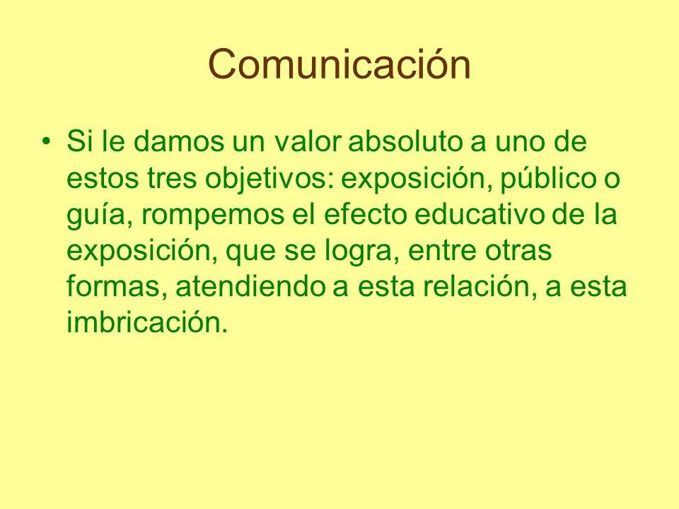 Comunicación Si le damos un valor absoluto a uno de estos tres objetivos: exposición, público o guía, rompemos el efecto educativo de la exposición, q