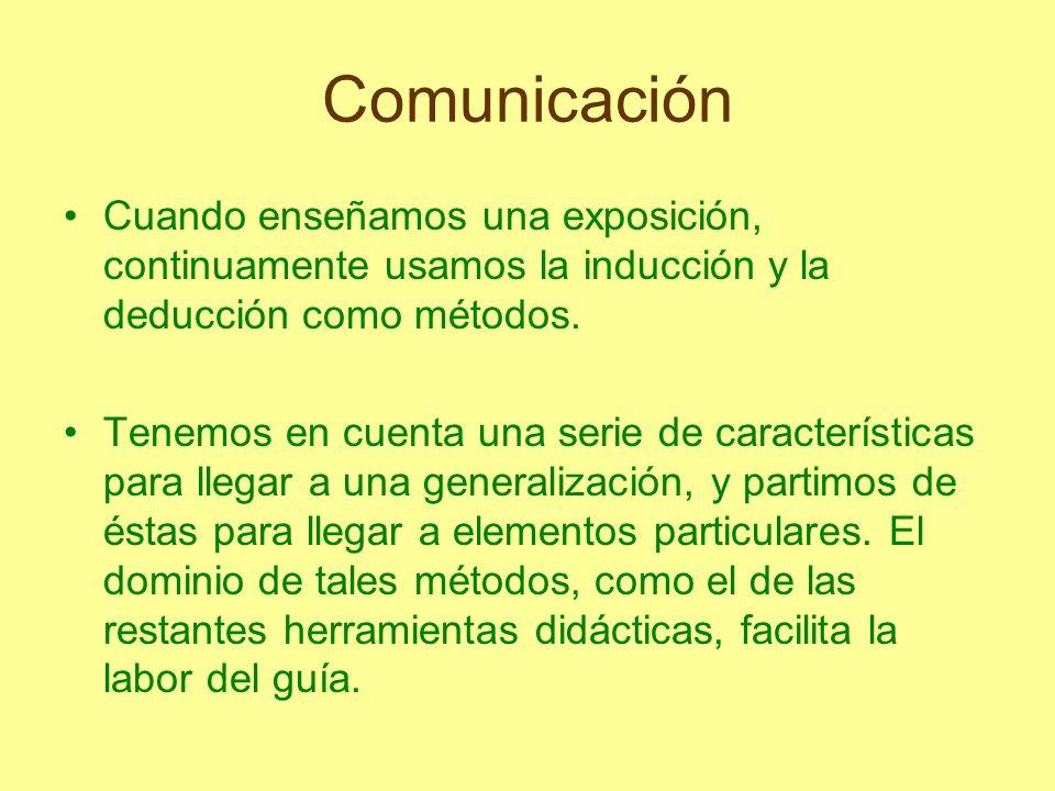 Comunicación Cuando enseñamos una exposición, continuamente usamos la inducción y la deducción como métodos. Tenemos en cuenta una serie de caracterís
