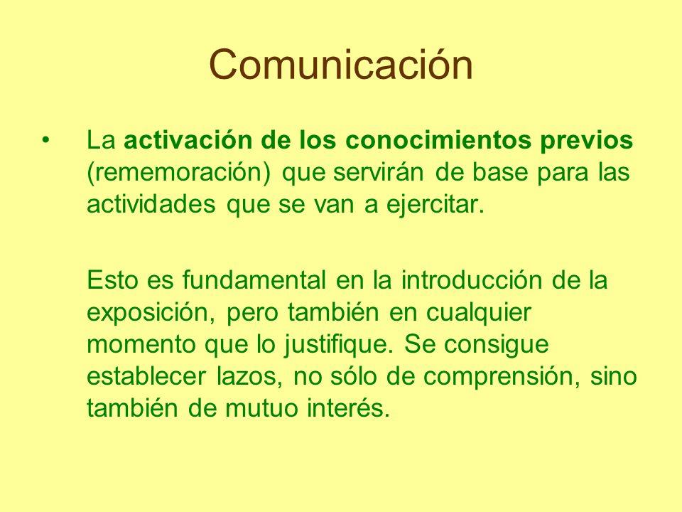 Comunicación La activación de los conocimientos previos (rememoración) que servirán de base para las actividades que se van a ejercitar. Esto es funda