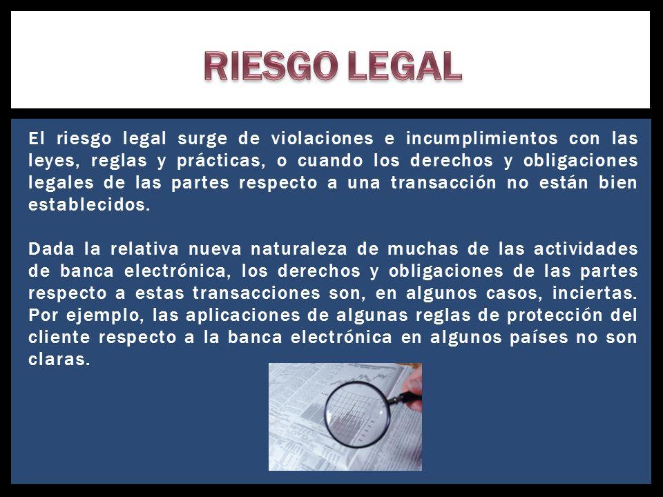 El riesgo legal surge de violaciones e incumplimientos con las leyes, reglas y prácticas, o cuando los derechos y obligaciones legales de las partes r