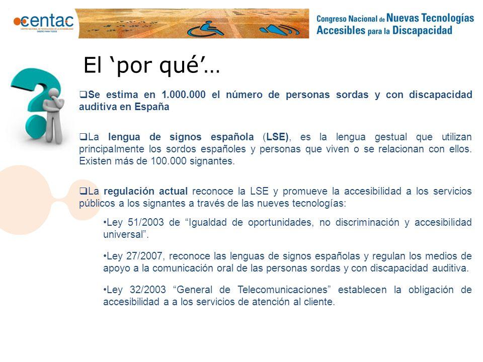 El por qué… Se estima en 1.000.000 el número de personas sordas y con discapacidad auditiva en España La lengua de signos española (LSE), es la lengua
