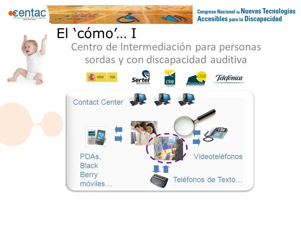 El cómo… I Centro de Intermediación para personas sordas y con discapacidad auditiva PDAs, Black Berry móviles… Teléfonos de Texto… Videoteléfonos Con