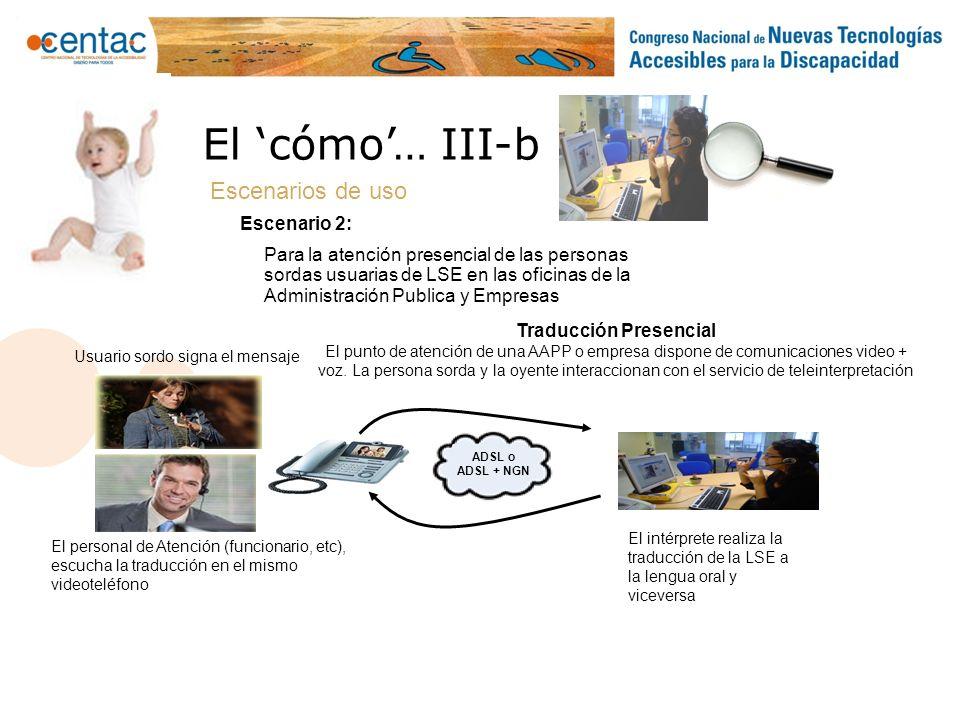 Traducción Presencial El punto de atención de una AAPP o empresa dispone de comunicaciones video + voz. La persona sorda y la oyente interaccionan con