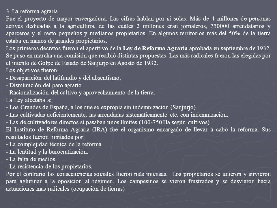 4. EL BIENIO REFORMISTA O SOCIAL-AZAÑISTA (dic 1931-nov 1933) 1. Reforma del ejército El objetivo era crear un ejército profesional y democrático y qu
