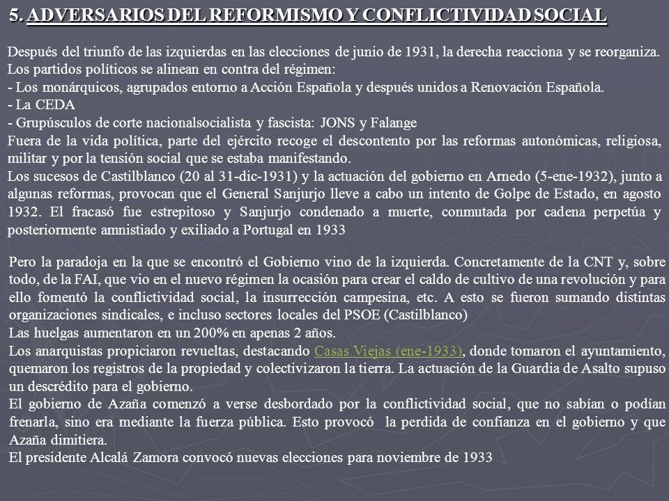 5. Reformas sociales Largo Caballero puso en marcha reformas destinadas a mejorar las condiciones laborales: - Ley de Contratos de Trabajo. - Jurados