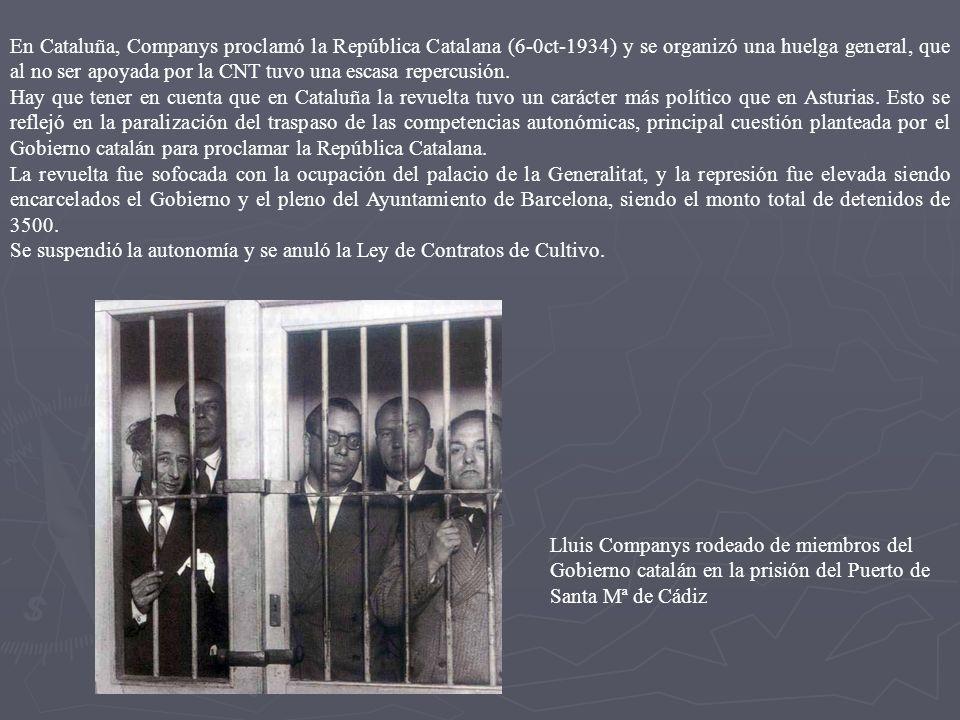 6.1 La Revolución de octubre del 1934 La causa es la entrada en el gobierno de miembros de la CEDA que para la izquierda es el inicio del camino hacia el fascismo y comienza a promover una serie de huelgas, en las principales ciudades.