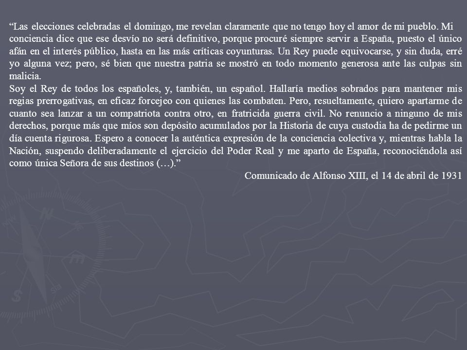 LA CAÍDA DE LA MONARQUÍA DE ALFONSO XIII DIMISIÓN DE PRIMO DE RIVERA NOMBRAMIENTO DE NUEVO GOBIERNO DOS OBJETIVOS VOLVER A LA LEGALIDAD CONSTITUCIONAL