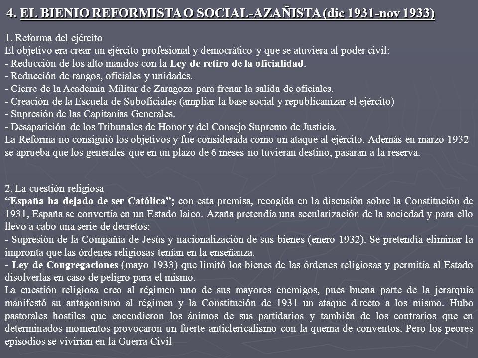 4.EL BIENIO REFORMISTA O SOCIAL-AZAÑISTA (dic 1931-nov 1933) 1.