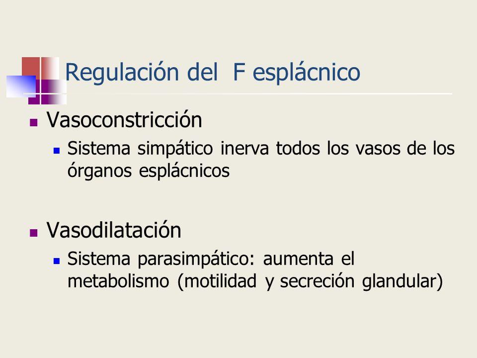 Regulación del F esplácnico Vasoconstricción Sistema simpático inerva todos los vasos de los órganos esplácnicos Vasodilatación Sistema parasimpático: