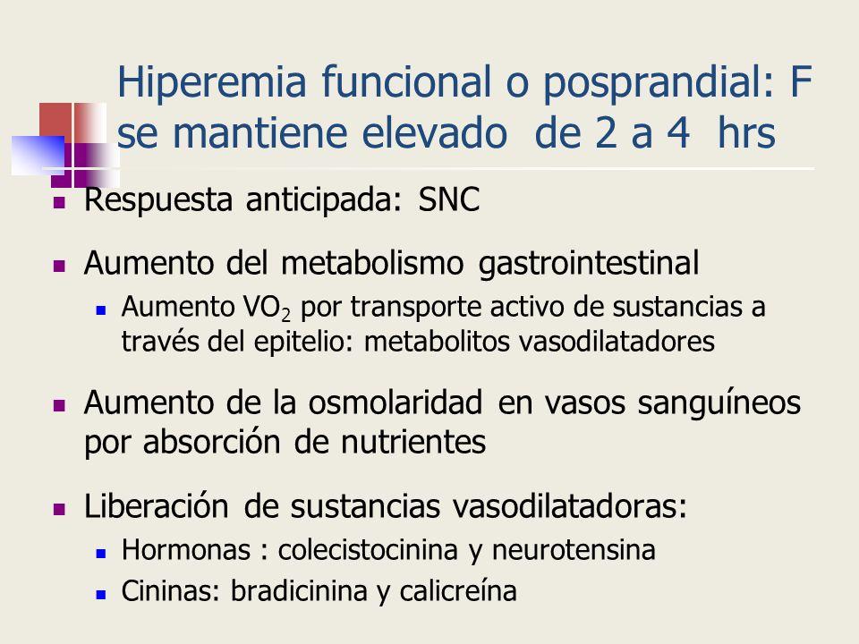Hiperemia funcional o posprandial: F se mantiene elevado de 2 a 4 hrs Respuesta anticipada: SNC Aumento del metabolismo gastrointestinal Aumento VO 2