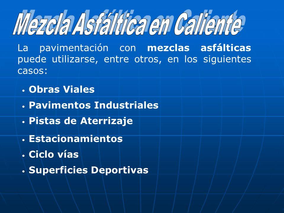 La pavimentación con mezclas asfálticas puede utilizarse, entre otros, en los siguientes casos: Obras Viales Pavimentos Industriales Pistas de Aterriz
