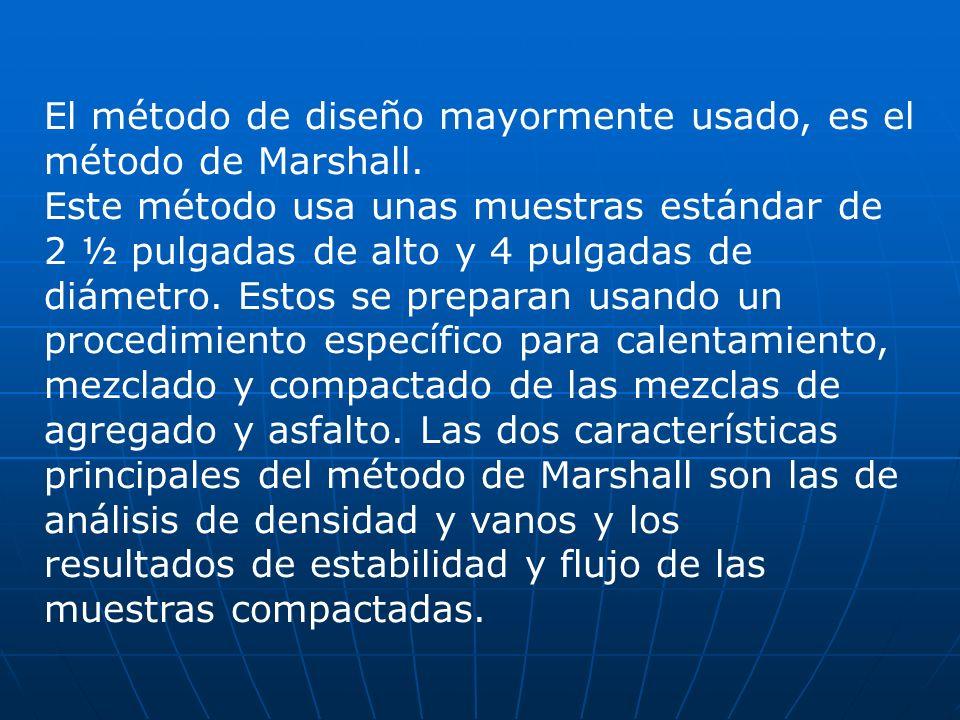 El método de diseño mayormente usado, es el método de Marshall. Este método usa unas muestras estándar de 2 ½ pulgadas de alto y 4 pulgadas de diámetr