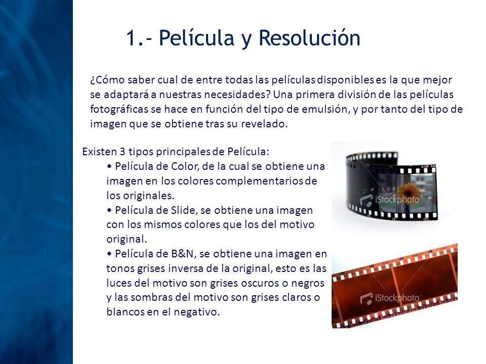1.- Película y Resolución ¿Cómo saber cual de entre todas las películas disponibles es la que mejor se adaptará a nuestras necesidades? Una primera di