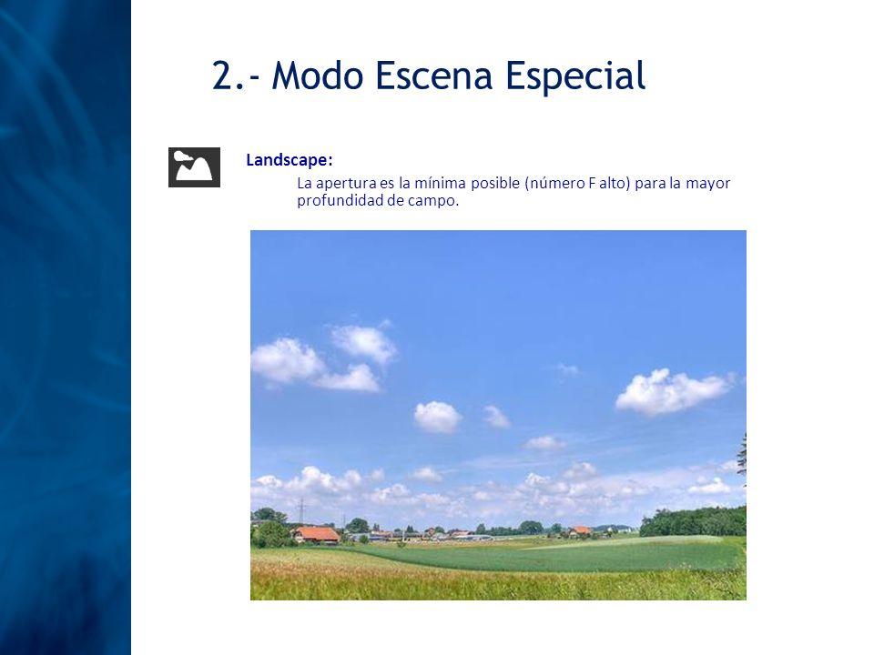 Landscape: La apertura es la mínima posible (número F alto) para la mayor profundidad de campo. 2.- Modo Escena Especial