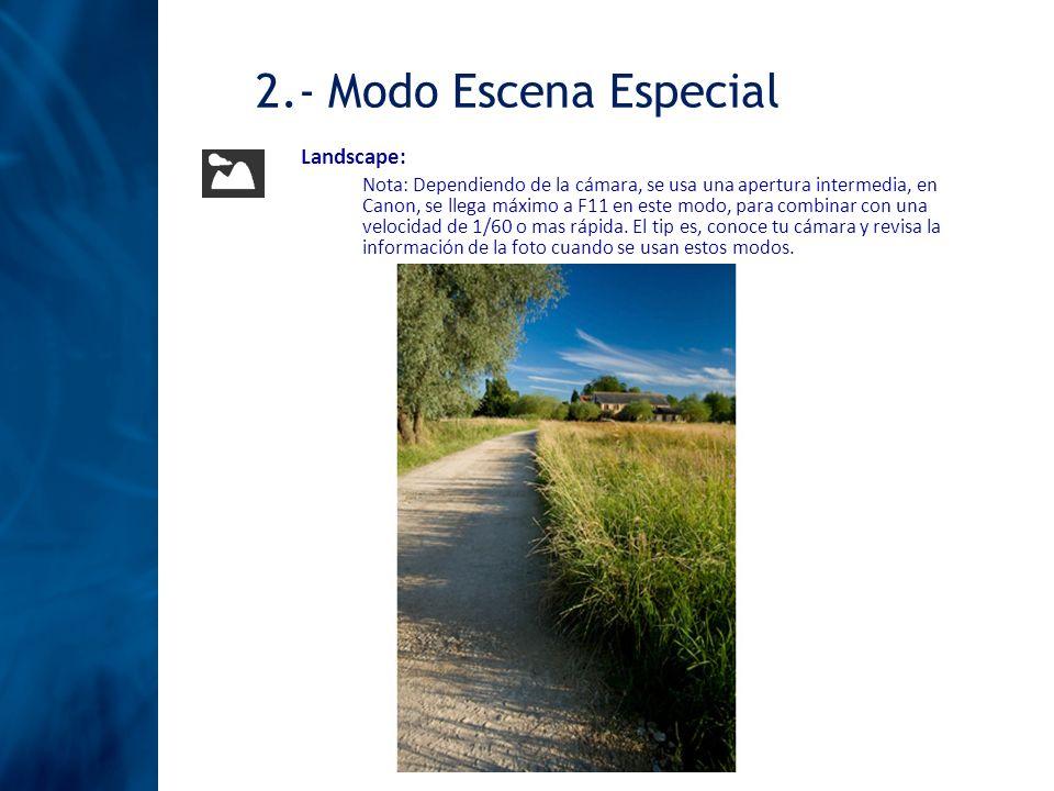 Landscape: Nota: Dependiendo de la cámara, se usa una apertura intermedia, en Canon, se llega máximo a F11 en este modo, para combinar con una velocid