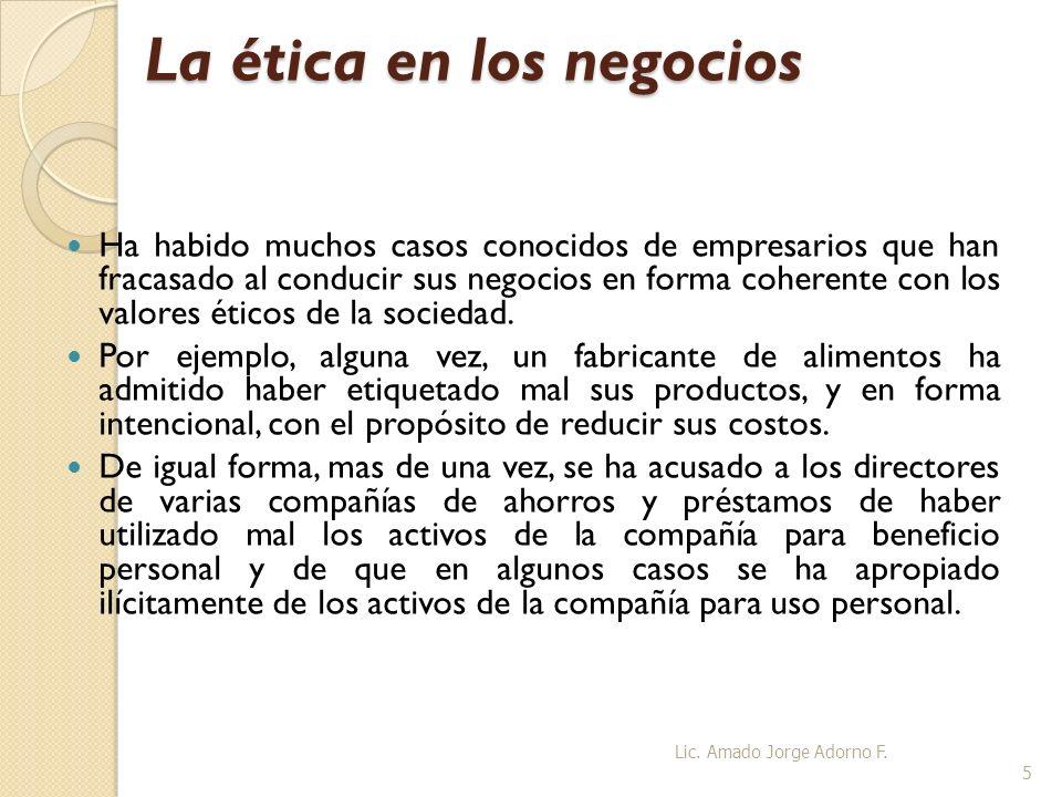 La ética en los negocios La decisión de los directores de manejar su empresa en forma ética no es una nueva filosofía empresarial.