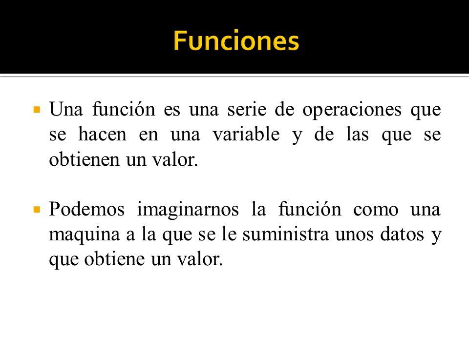 Una función es una serie de operaciones que se hacen en una variable y de las que se obtienen un valor. Podemos imaginarnos la función como una maquin