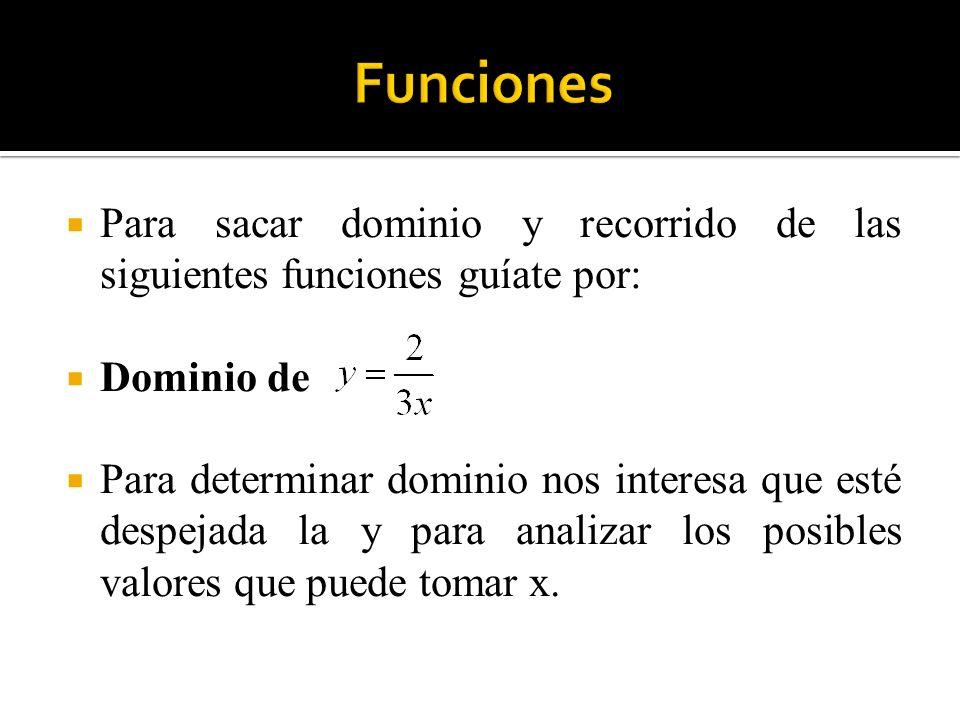 Para sacar dominio y recorrido de las siguientes funciones guíate por: Dominio de Para determinar dominio nos interesa que esté despejada la y para an