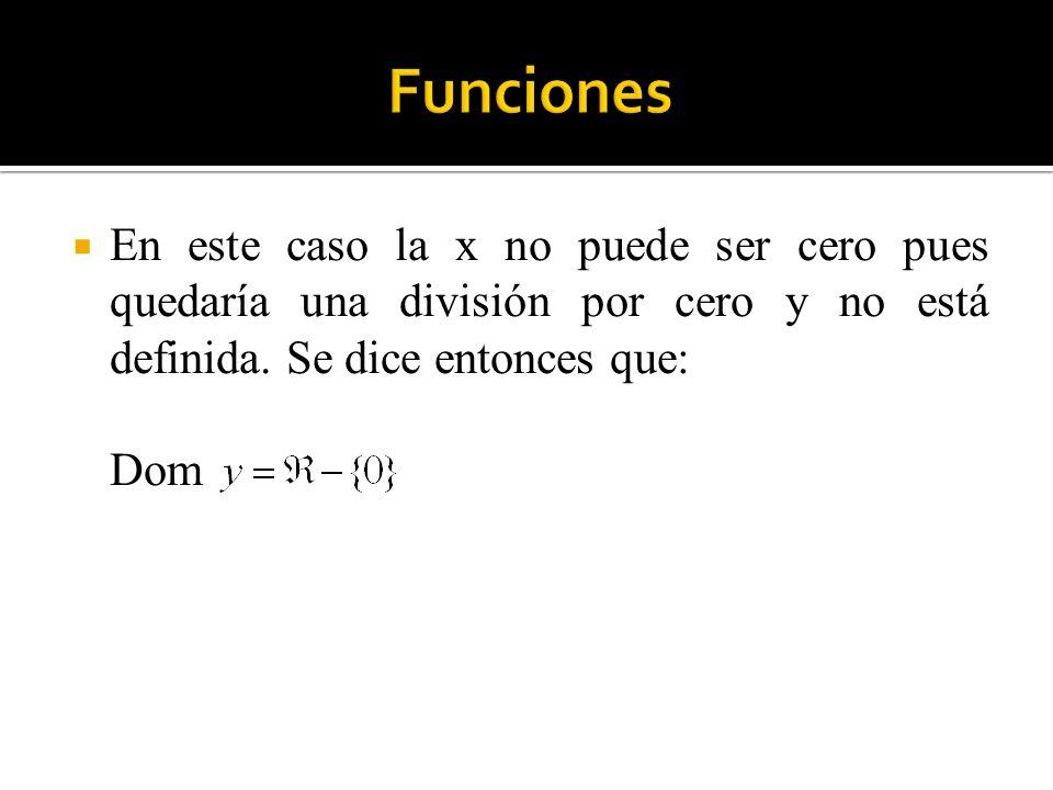 En este caso la x no puede ser cero pues quedaría una división por cero y no está definida. Se dice entonces que: Dom