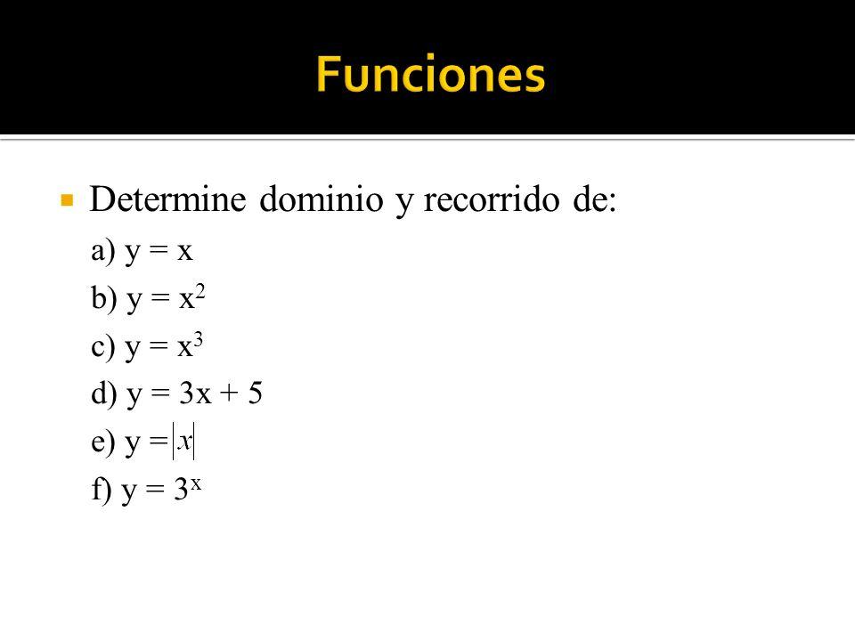 Determine dominio y recorrido de: a) y = x b) y = x 2 c) y = x 3 d) y = 3x + 5 e) y = f) y = 3 x