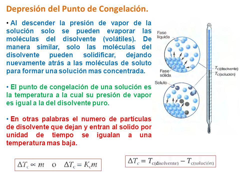 Depresión del Punto de Congelación. Al descender la presión de vapor de la solución solo se pueden evaporar las moléculas del disolvente (volátiles).