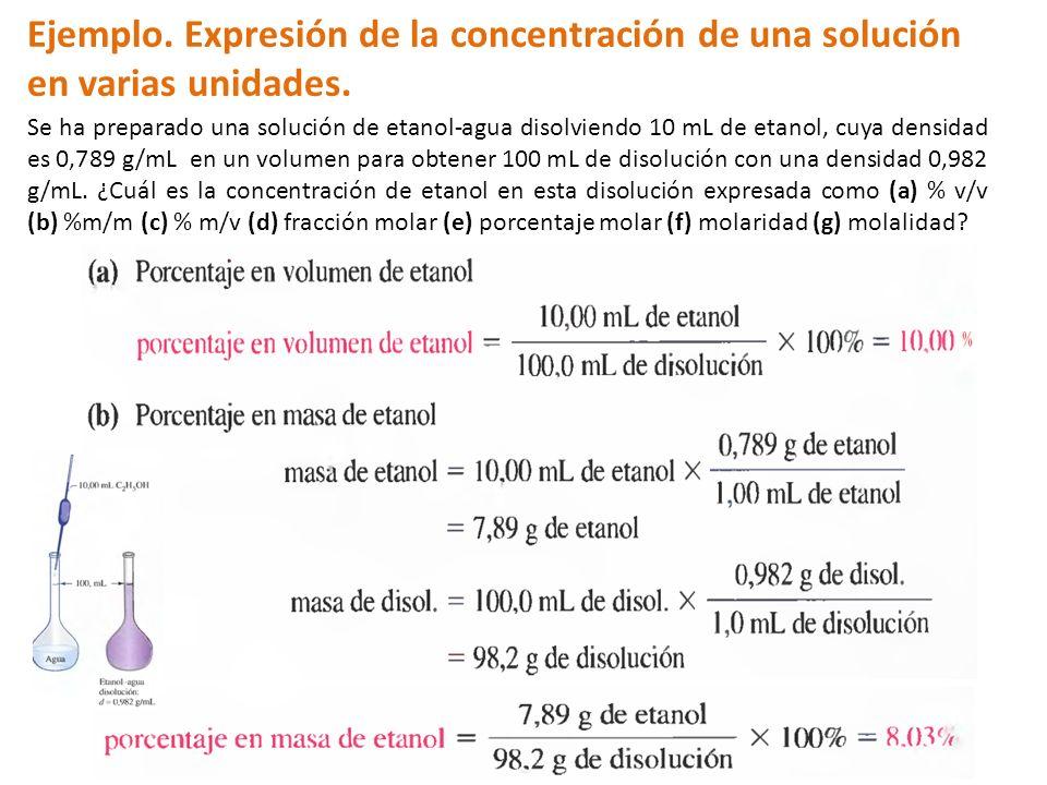 Ejemplo. Expresión de la concentración de una solución en varias unidades. Se ha preparado una solución de etanol-agua disolviendo 10 mL de etanol, cu