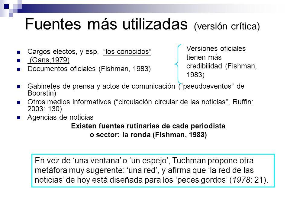 Fuentes más utilizadas (versión crítica) Cargos electos, y esp. los conocidos (Gans,1979) Documentos oficiales (Fishman, 1983) Gabinetes de prensa y a
