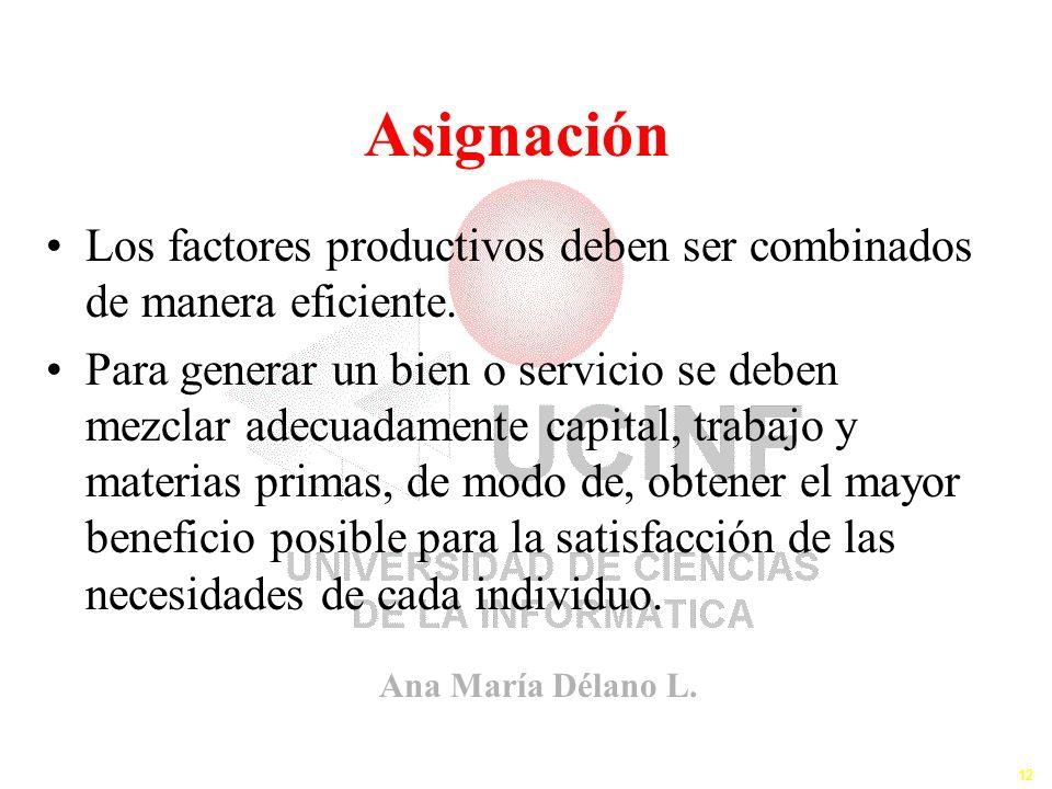 Ana María Délano L. 12 Asignación Los factores productivos deben ser combinados de manera eficiente. Para generar un bien o servicio se deben mezclar