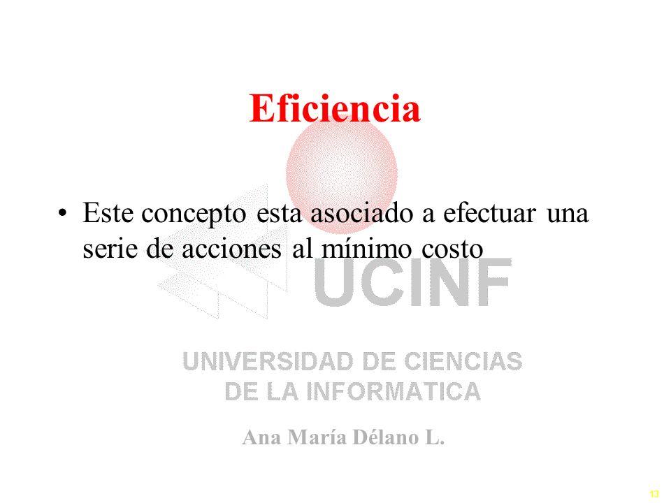 Ana María Délano L. 13 Eficiencia Este concepto esta asociado a efectuar una serie de acciones al mínimo costo