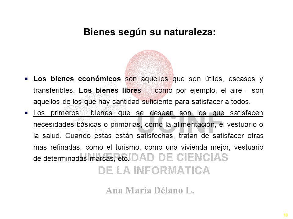Ana María Délano L. 18 Los Bienes y Servicios III Los bienes económicos son aquellos que son útiles, escasos y transferibles. Los bienes libres - como